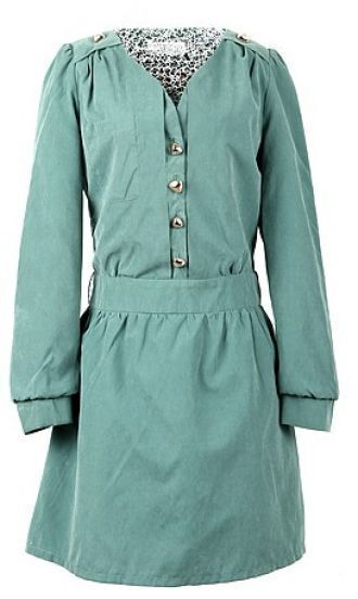 Green Long Sleeve Studded Shoulder Sweetheart Neck Belted Dress