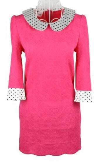 Rose Red Long Sleeve Contrast Polka Dot Collar Zip Back Dress