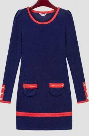 Navy Long Sleeve Contrast Trims Zip Embellished Pockets Dress
