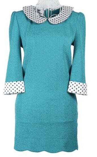 Turquoise Long Sleeve Contrast Polka Dot Collar Zip Back Dress