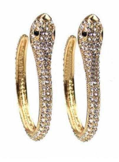 Gold Double Snake Style Rhinestone Embellished Ring
