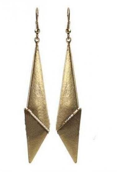 Gold Knife Style Bead Embellished Drop Earring