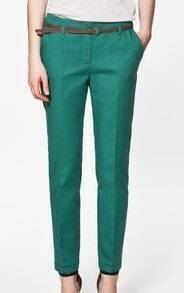 Green Cotton Pockets Side and Back Belt Trun Up Pant