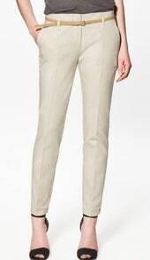 Beige Cotton Pockets Side and Back Belt Trun Up Pant
