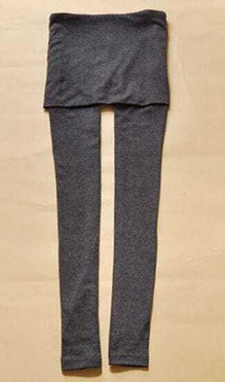 Grey Stirrup Leggings with Skirt