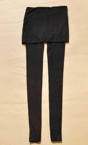 Black Stirrup Leggings with Skirt