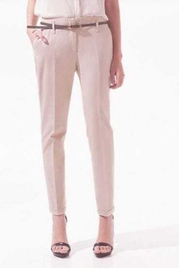 Pink Cotton Pockets Side and Back Belt Trun Up Pant