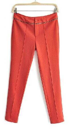 Red Zip Embellished Pintuck Front Tapered Pant
