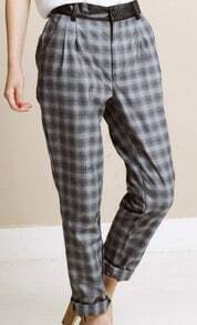 Grey Plaid Print Contrast Leather Tapered Pant