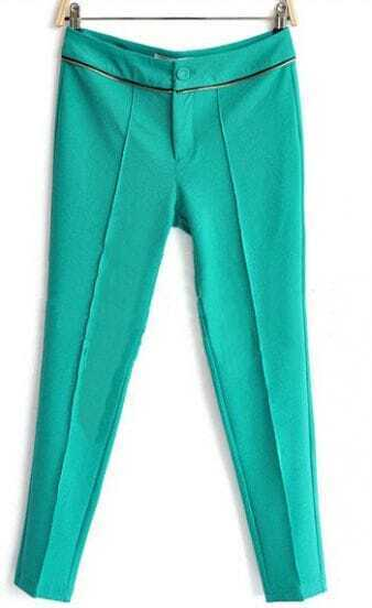 Green Zip Embellished Pintuck Front Tapered Pant