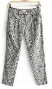 Grey Black Check Print Double Back Pockets Haren Pant