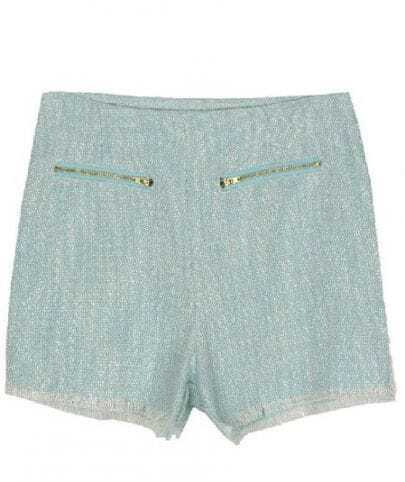 Pink Gold Zip Front Frayed Hem Woolen Shorts