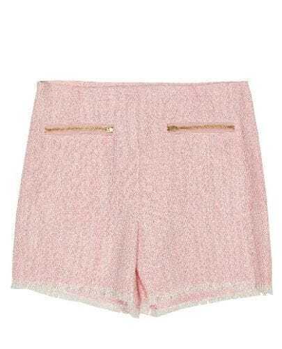Blue Gold Zip Front Frayed Hem Woolen Shorts