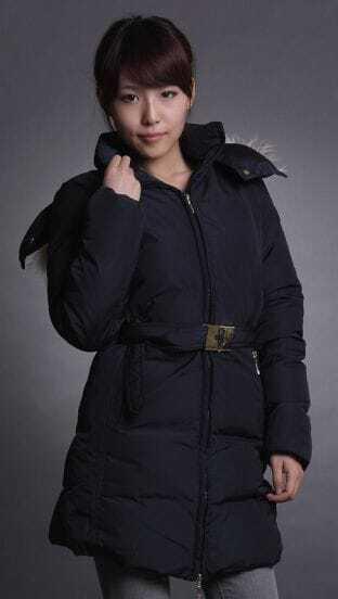 Navy Detachable Fur Hat Metal Belt Long Down Jacket