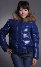 Shiny Royal Blue Fur Hooded Double-breasted Down Jacket