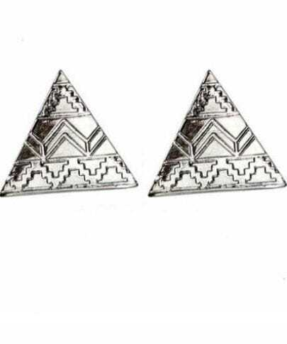 Gold Triangle Style Clip On Earring