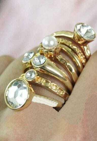 Gold Multi Circle Style Diamond Embellished  Ring