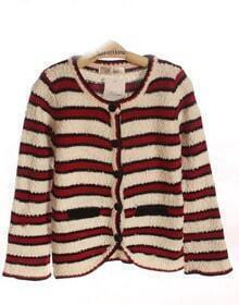 Red White Stripe Pockets Curved Hem Long Sleeve Cardigan