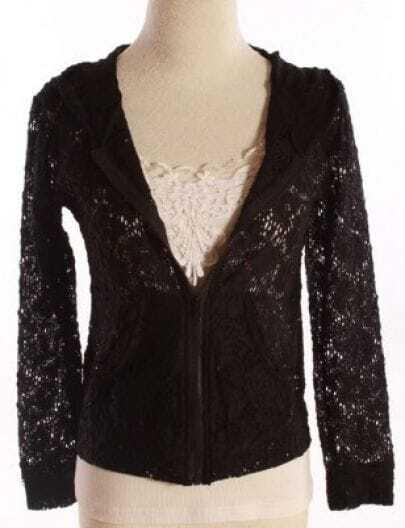 Black Floral Lace Zipper Pockes Long Sleeve Hooded Coat