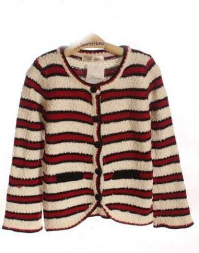 Red White Stripe Pockets Curved Hem Long Sleeve Cardigan