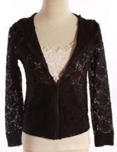 Black Floral Lace Zipper Pockes Long Sleeve Hooded Coat