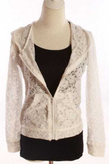 White Floral Lace Zipper Pockes Long Sleeve Hooded Coat