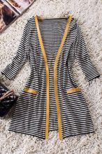 Yellow Trims Striped Skull Print Back Woolen Cardigan