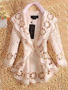 Apricot Eyelet Embroidery Shawl Collar Long Sleeve Cardigan