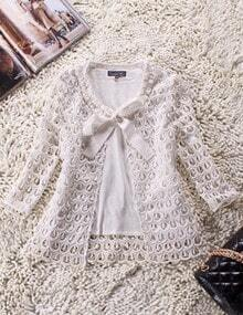 White Long Sleeve Hollow Lace Bowknot Neck Coat