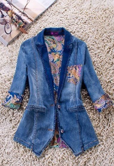 Blue Contrast Silk Tribal Print Tie Back Denim Coat
