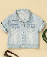 Light Blue Pockets Lace Embellished Short Sleeve Denim Crop Coat