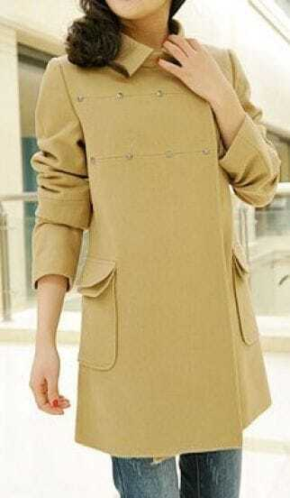 Camel Rivet Lapel Pockets Cashmere Long Sleeve Coat