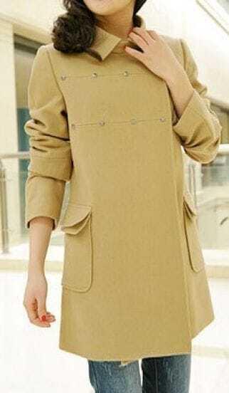 Camel Rivet Lapel Pockets Cashmere Long Sleeve Coat