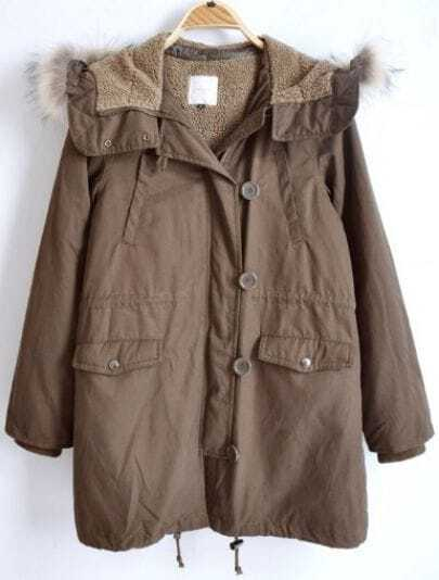 Brown Long Sleeve Fur Lined Hooded Drawstring Hem Parka