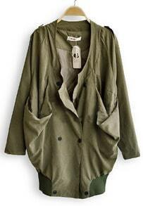 Army Green Long Sleeve Draped Collar Big Pockets Military Coat