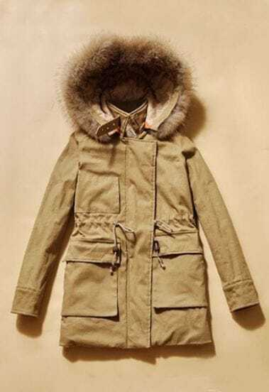 Khaki Long Sleeve Drawstring Waist Fur Lined Hooded Parka