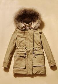 Khaki Long Sleeve Drawstring Waist Fur Lined Hooded Parka