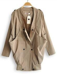 Khaki Long Sleeve Draped Collar Big Pockets Military Coat