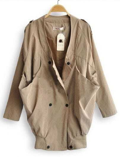 Khaki Long Sleeve Draped Collar Big Pockets Military Coat