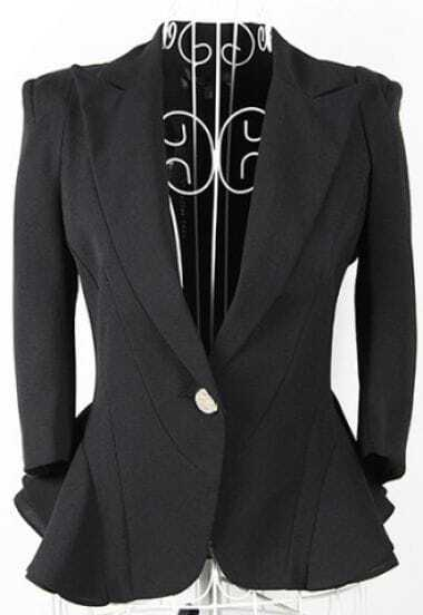 Black Lapel Single Button Shrug Ruffle Hem Long Sleeve Blazer