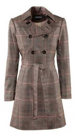 Grey Check Print Double Lapel Military Belt Long Sleeve Trench Coat