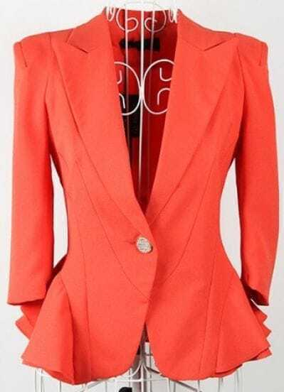 Orange Lapel Single Button Shrug Ruffle Hem Long Sleeve Blazer