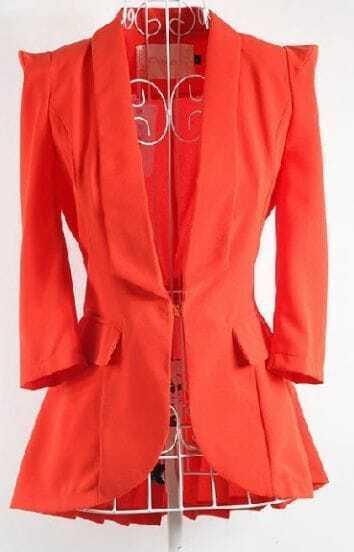 Orange Puff Sleeve Shawl Collar Pleated Back Flare Hem Slim Blazer
