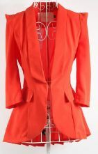 Orange Puff Sleeve Shawl Collar Pleated Back Flare Hem Slim Blazer