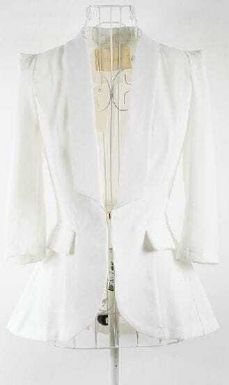 White Puff Sleeve Shawl Collar Pleated Back Flare Hem Slim Blazer