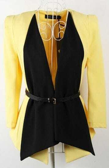 Yellow Black Waterfall Shrug Split Back Belt Long Sleeve Blazer