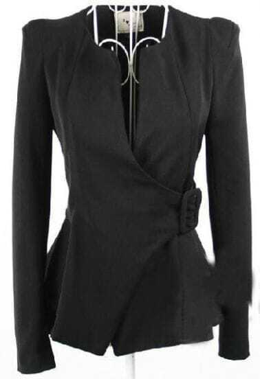 Black Collarless Ruffle Hem Long Sleeve Wrap Blazer