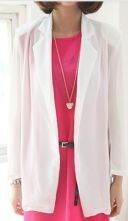 White Notch Lapel Long Sleeve Sheer Chiffon Open Blazer