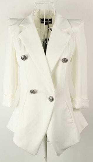 White Notch Lapel Lace Cuff Slim Military Tuxedo Blazer