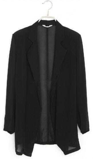 Black Notch Lapel Long Sleeve Sheer Chiffon Open Blazer